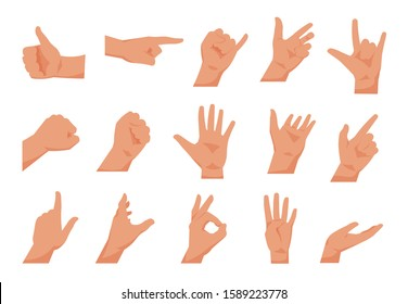 Hand gestures. Flat collections of arms showing different gestures, counting pointing and greeting. Vector cartoon isolated palms set, poser hands isolated on white background