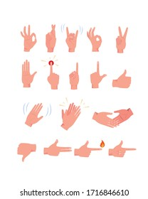 Hand gestures flat icon kit. Biceps, arm, fist, folded or waving hands vector set. Emoticon gesture Illustrations collection. Communication and signs concept