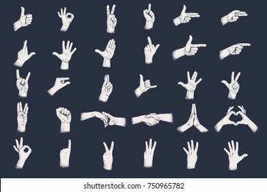 Hand gestures with grunge dots shadow texture. Digits hand gestures.