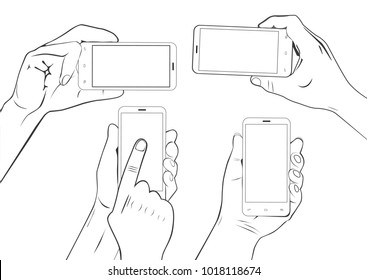 Hand gestures holding smartphone touchscreen sketch set isolated
