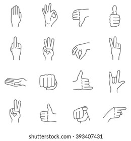 Hand gestures. Human hands show different signals and signs. Thin line icon set