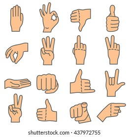 Hand gestures. Human hands show different signals and signs