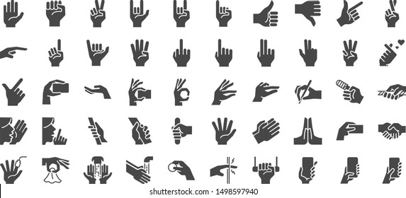 Hand gestures icon set. Included icons as fingers interaction,  pinky swear,forefinger point, greeting, pinch, hand washing and more.