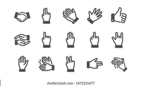 Hand gestures icons. Handshake, Clapping hands, Victory. Horns, Thumb up finger, drag and drop icons. Donation hand gestures, middle finger, helping hand. Classic set. Quality set. Vector