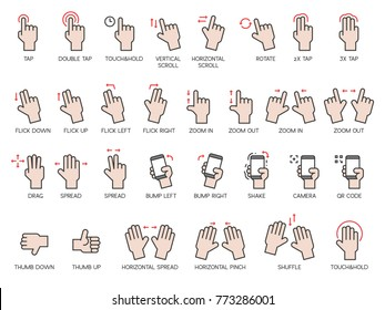 Hand gestures icons set with name, for use as interface of smartphone application and tablet