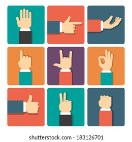 hand gestures icons set vector illustration