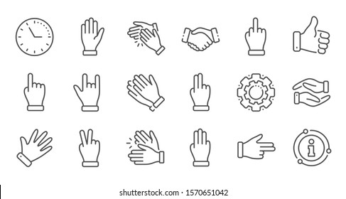 Hand gestures line icons. Handshake, Clapping hands, Victory. Horns, Thumb up finger, drag and drop icons. Donation hand gestures, middle finger, helping hand. Linear set. Quality line set. Vector