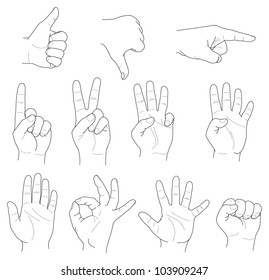 hand gestures and numbers