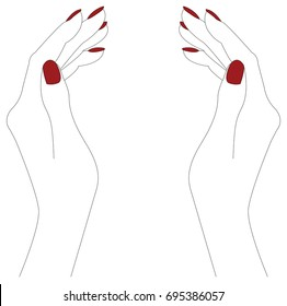 Hand gestures outline vector illustration. Women's girl's female palm drawing. Right hand and left hand.