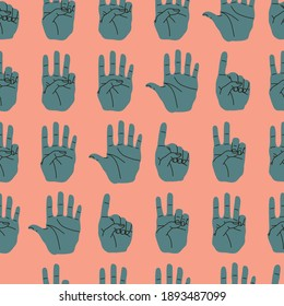 Hand gestures seamless pattern. Counting on the fingers. Cute hand drawn vector flat cartoon style illustration.
