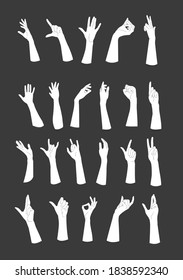 Hand gestures. set of 22 illustrations.