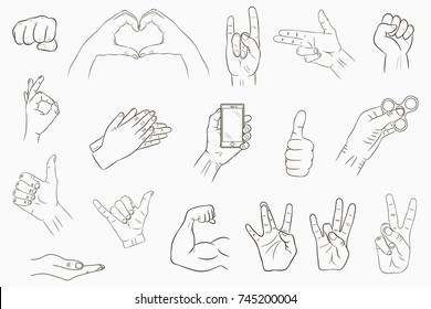 hand sign images stock photos vectors shutterstock Satanic Hand Signs hand gestures set collection of hand drawn signs vector illustration