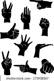 Hand Gestures set isolated on white background.