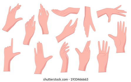 Hand gestures. A set of manual gestures of the female hand. Flat-style gestures on an isolated white background.  Concept design elements, hold in hands, stroking.