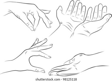 hand gestures set on white background - freehand, vector illustration