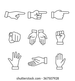 Hand gestures signs set. Thin line art icons. Linear style illustrations isolated on white.