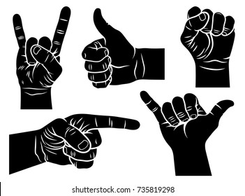 Hand gestures and signs. Shaka sign, male fist, a hand showing symbol Like, pointing hand, Rock and Roll hand sign. Vector illustration