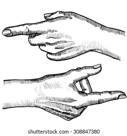 Hand gestures of a single pointing finger. Vintage sketch style. Vector illustration isolated on white background.