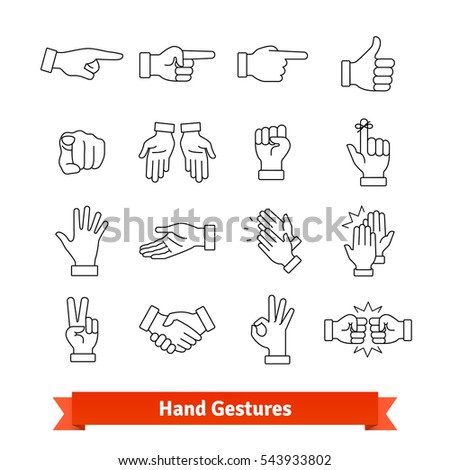 Hand Gestures Thin Line Art Icons