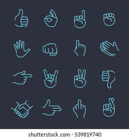 Hand gestures thin line icon set
