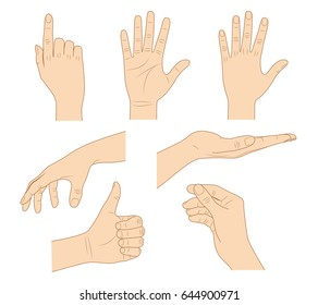 Hand gestures thin line icon set. Isolated vector illustration of human hands.