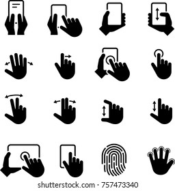 Hand Gestures Touchscreen Finger Tap Icons