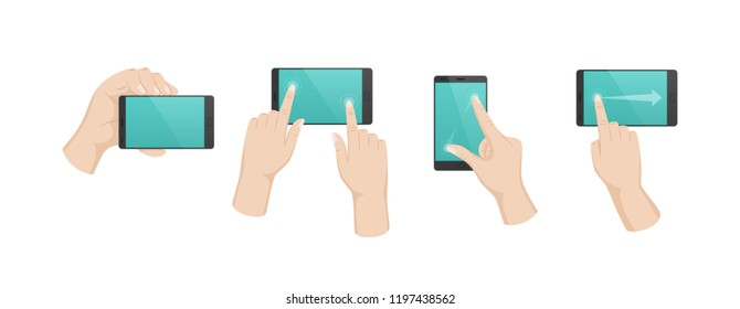 Hand gestures with touchscreen phone. Finger gestures with arrows, directions of movement, use multitouch of smartphone. Signs of turning over, flipping content, increasing scale. Vector illustration.