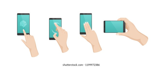 Hand gestures with touchscreen phone. Finger gestures with arrows, directions of movement, use of multitouch on phone, smartphone. Sign of fingerprint unlocking, flipping, moving. Vector illustration.