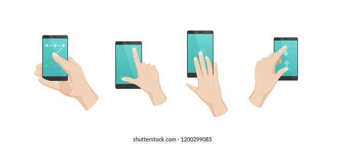 Hand gestures with touchscreen phone. Finger gestures with arrows, directions of movement, use of multitouch on phone, smartphone. Signs of unlock screen, increase content, move. Vector
