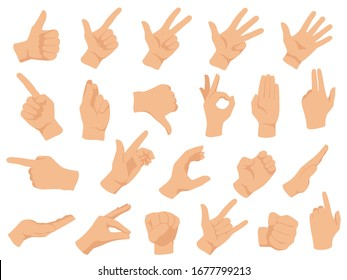 Hand gestures. Vector illustration set, counting fingers. Gesture palm, pointing hand, communication language, pose and gesturing