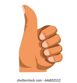 Hand gesturing thumb up