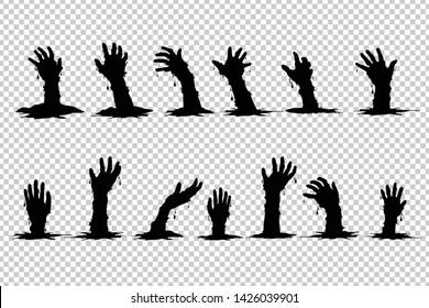 Hand ghosts rising from the grave Halloween on Transparent background.
