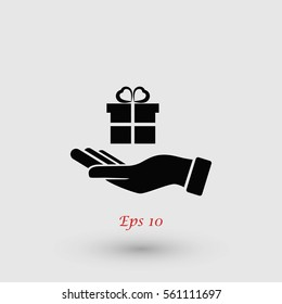 Hand and gifts icon, flat design best vector icon