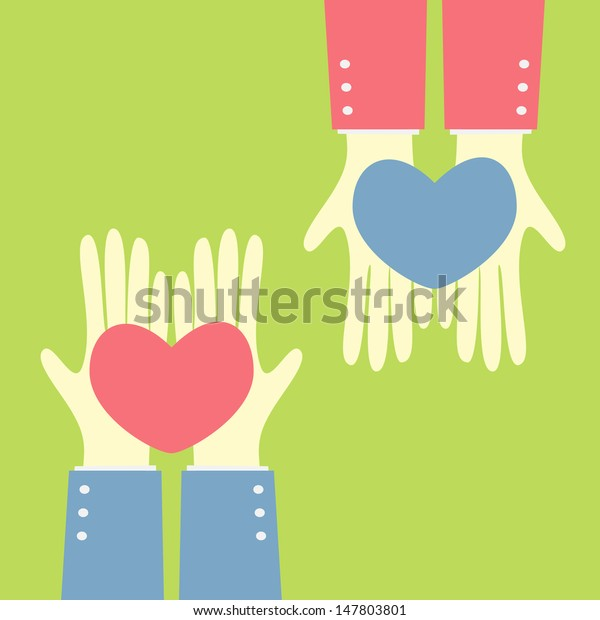 hand give heart to heart