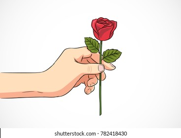 Hand give a red rose. Vector illustration