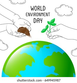 Hand give young green plant and soil to earth. World environment day concept. Illustration and han draw style isolated on white background.