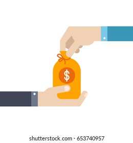 Hand gives a bag of money to another hand. Vector illustration business concept design. Flat design for web site, mobile app