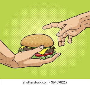 Hand gives a burger to other hand pop art style vector illustration. Comic book style imitation. Classic art painting imitation. Funny image with burger