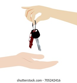 Hand gives car keys to a receiving hand. To buy, to rent or to lease a car illustration.