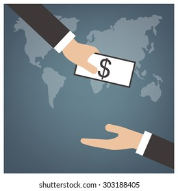Hand gives cash for businessman ,flat vector concept design on business background