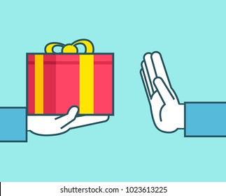 Hand gives gift box, shows stop gesture. Expensive present, decline gift, stop corruption concept. Simple style vector illustration