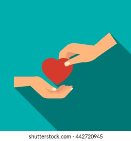 Hand gives heart icon in flat style with long shadow. Priceless gift symbol