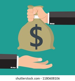 Hand gives money to another hand. Vector illustration.