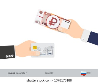 Hand giving 5000 Russian Ruble Banknote. Ruble banknote and credit card instead. Flat style vector illustration. Business finance concept.