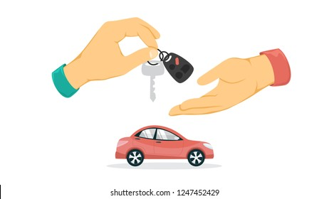 Hand giving car key. Idea of loan and car rental. Buy and sell property. Isolated flat vector illustration