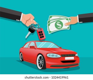 Hand giving car keys to another hand,Car Rental and cars for sale - Vector illustration.