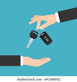 Hand giving car keys with chain. Car rental or sale concept in flat style. Vector image