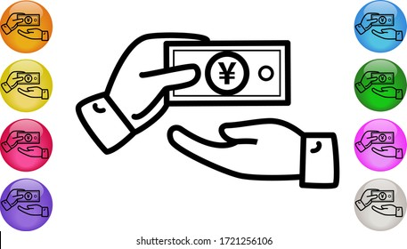 Hand Giving Cash Money in Japanese YEN or Chinese YUAN Banknote. Money exchange, transfer, help, donation, cash payment and charity concept. Vector illustration EPS 10.