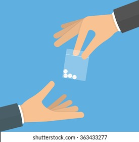 Hand giving drug pills in a plastic bag to another hand. Drug dealer concept. Flat design