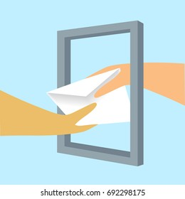 Hand giving an envelope to a hand through an empty frame. Vector illustration